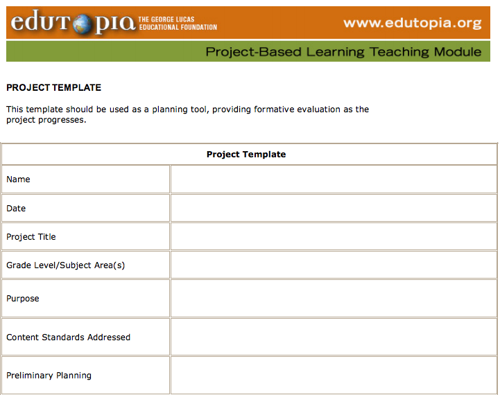PBL - Edutopia - Planning Module