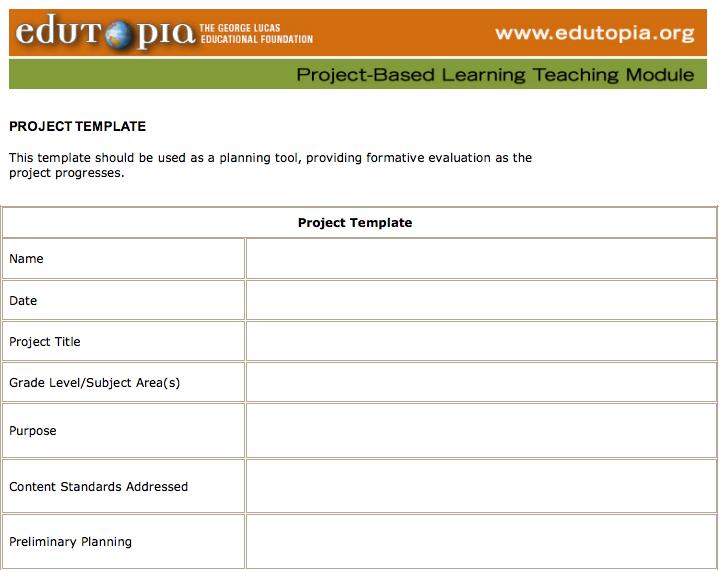 PBL - Edutopia - Planning Module