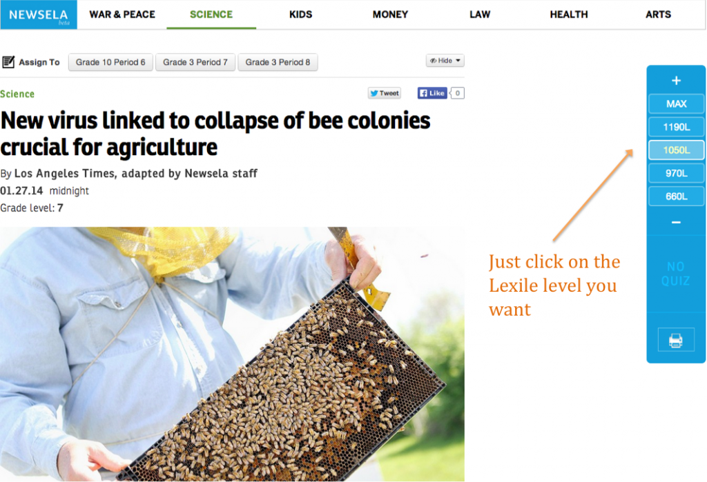 Newsela - bees - lexiles highlighted