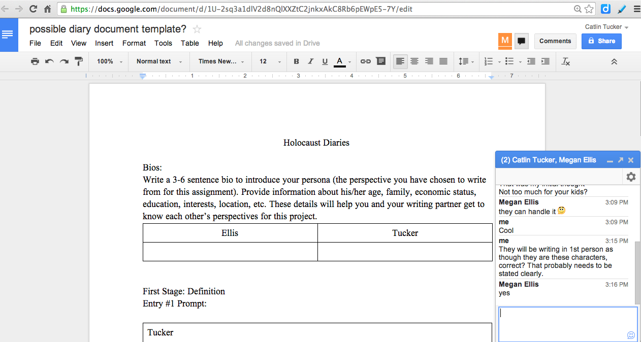 Holocaust Journals The Power Of Connecting Classrooms - Google diary template