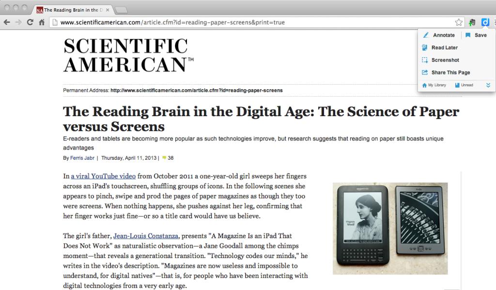 Diigo - annotating a digital text #1 - toolbar