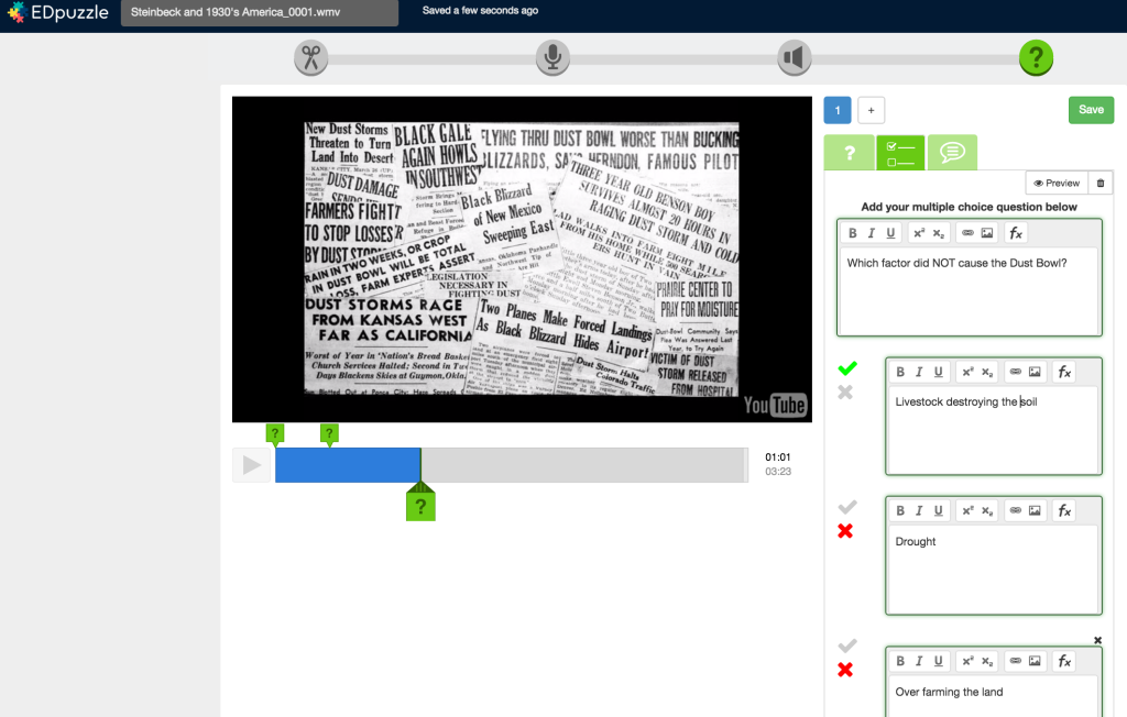 EDpuzzle Multiple Choice