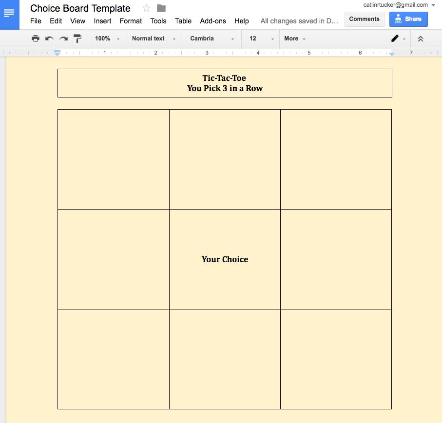 Design Your Own Digital Choice Board