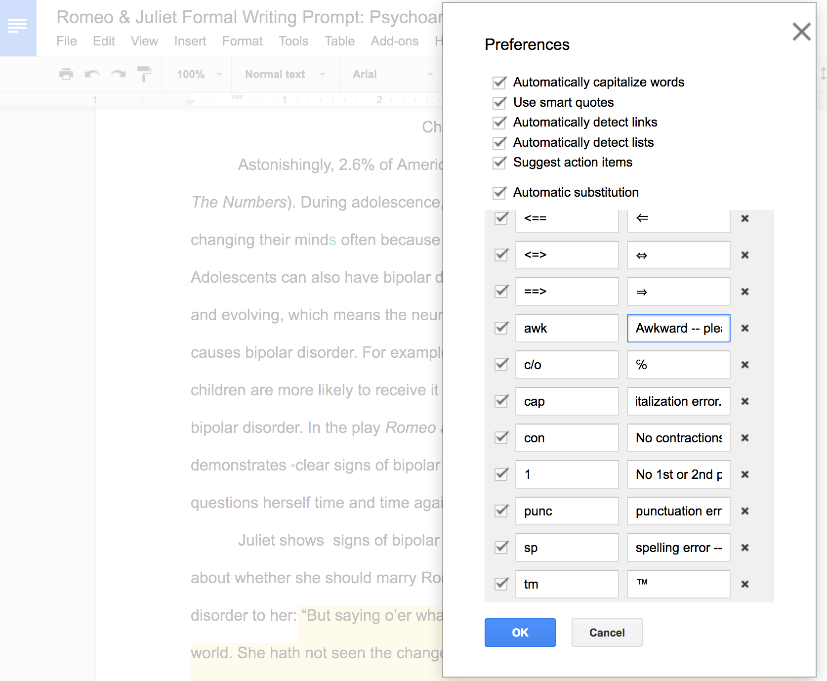 Faster Feedback: Create Editing Shortcuts in Google Docs |