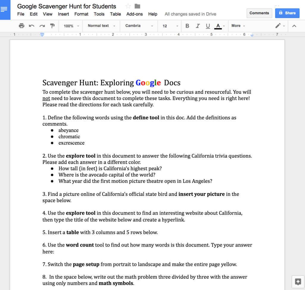 Worksheets Constitution Scavenger Hunt Worksheet google docs scavenger hunt hunt