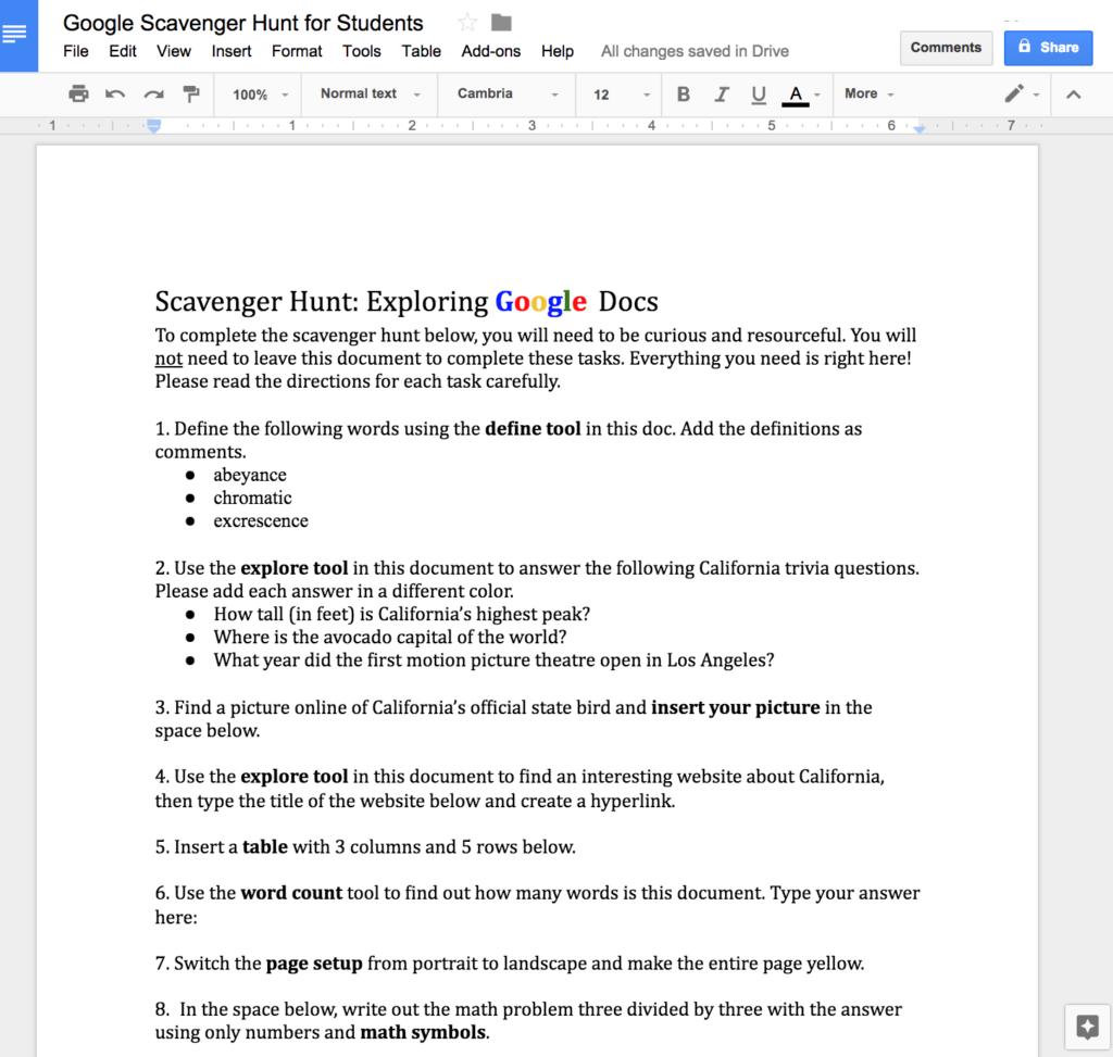 Google docs scavenger hunt google docs scavenger hunt buycottarizona Images
