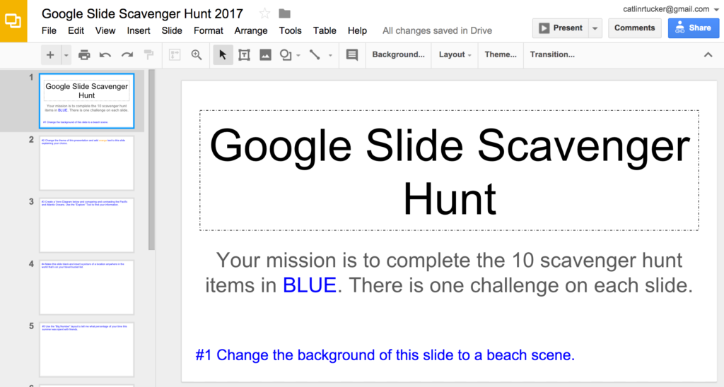 google slide scavenger hunt