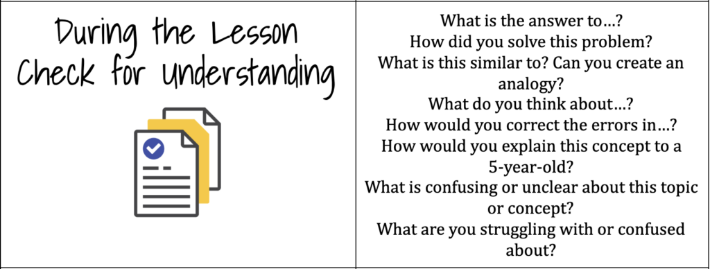 Check for Understanding: What Are You Learning About Your Students During the Lesson?